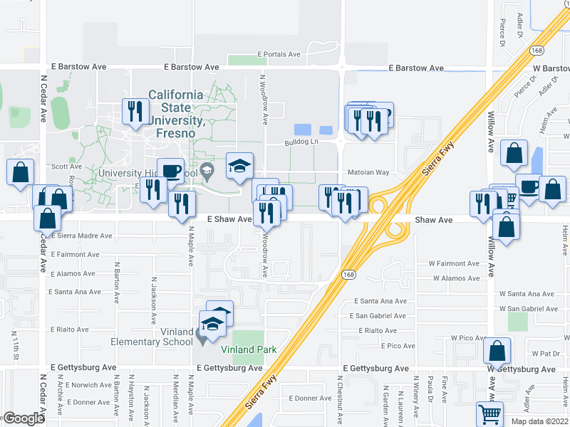 map of restaurants, bars, coffee shops, grocery stores, and more near 2585-2699 State Highway 168 in Fresno