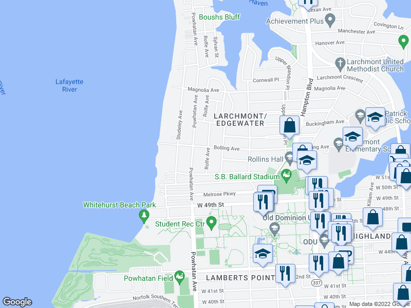 map of restaurants, bars, coffee shops, grocery stores, and more near  in Norfolk