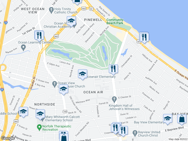 map of restaurants, bars, coffee shops, grocery stores, and more near Lenox Ave & Pinedale St in Norfolk