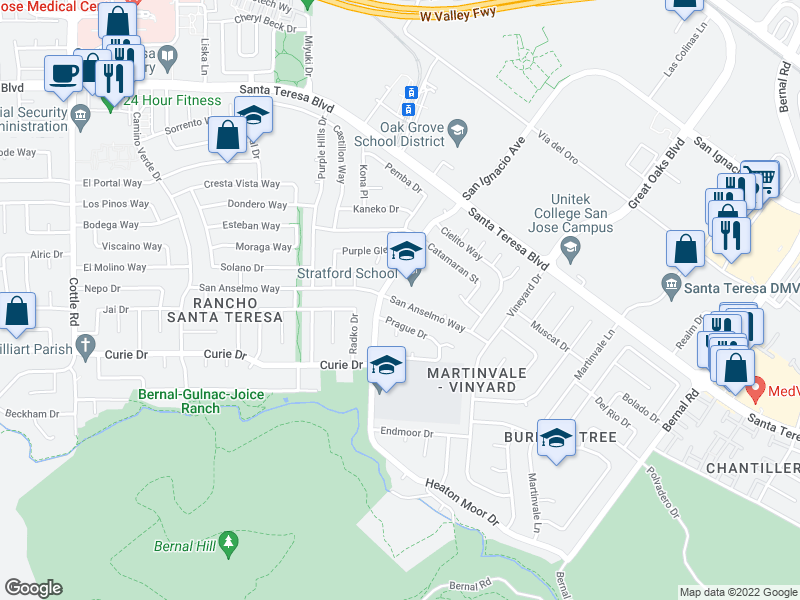 map of restaurants, bars, coffee shops, grocery stores, and more near 6670 San Anselmo Way in San Jose