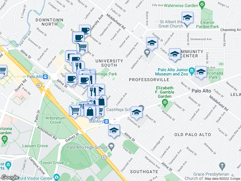 map of restaurants, bars, coffee shops, grocery stores, and more near 1027 Bryant St in Palo Alto