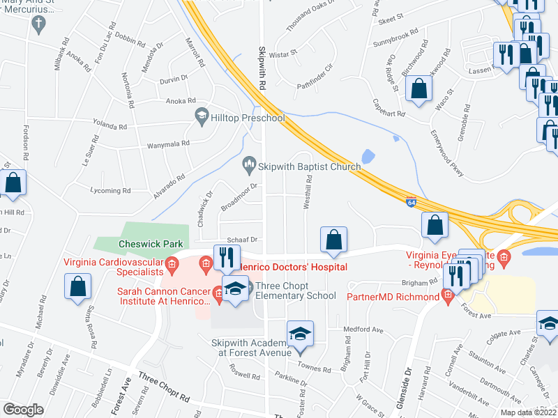 map of restaurants, bars, coffee shops, grocery stores, and more near 1801 Rockwood Rd in Richmond