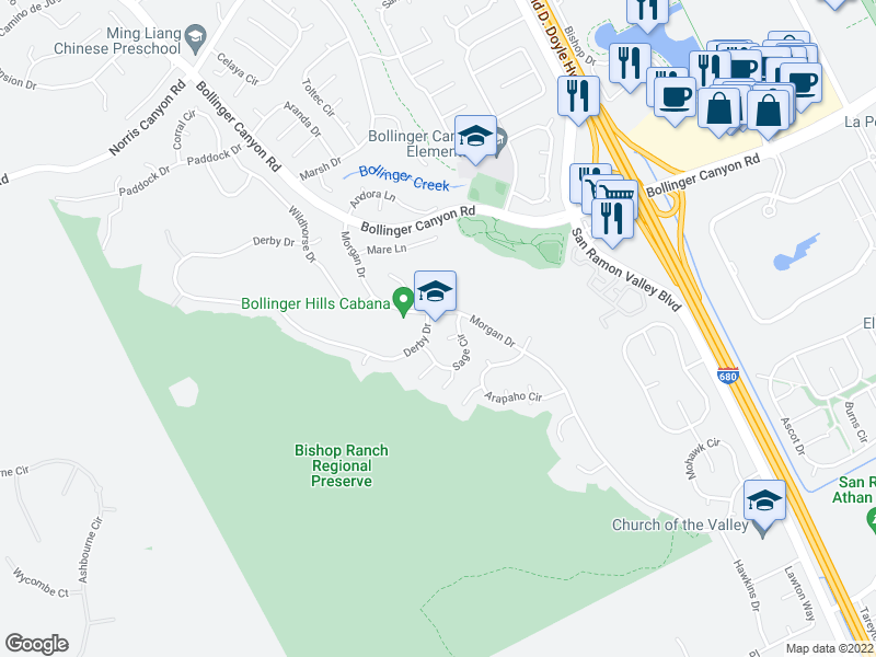 map of restaurants, bars, coffee shops, grocery stores, and more near 30 Seneca Ln in San Ramon