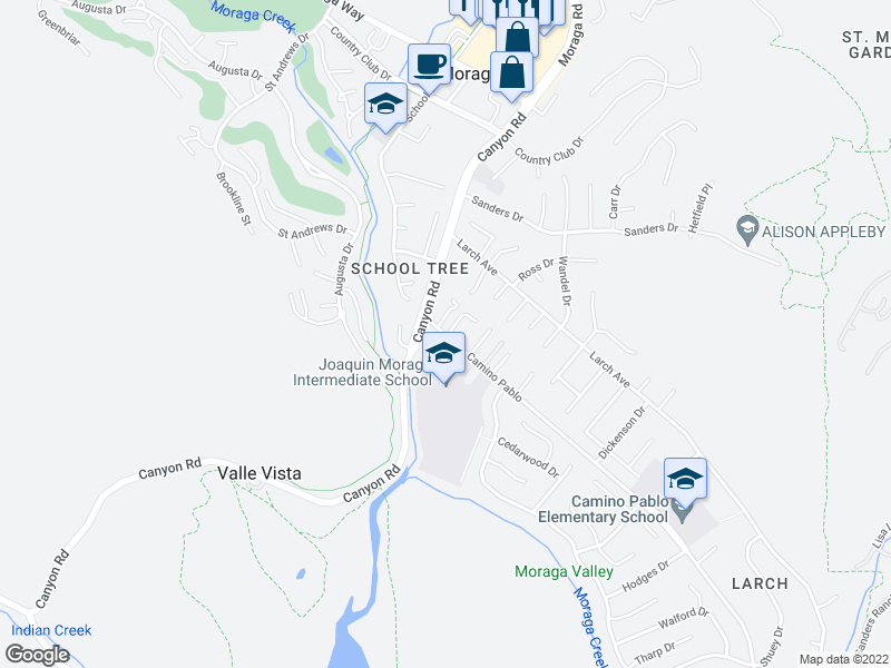 map of restaurants, bars, coffee shops, grocery stores, and more near 50 Corte Maria in Moraga