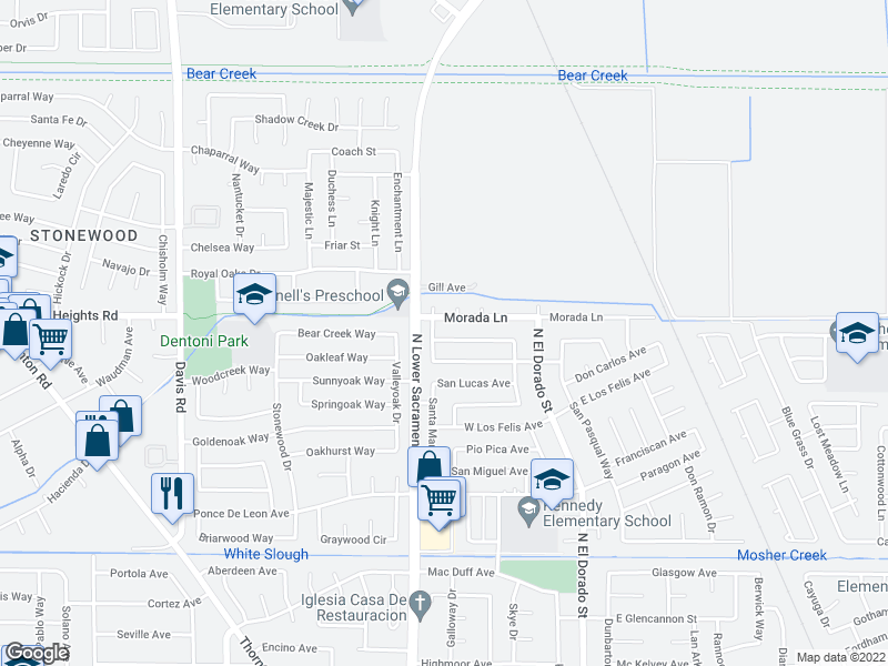 map of restaurants, bars, coffee shops, grocery stores, and more near 843 Morada A Court in Stockton