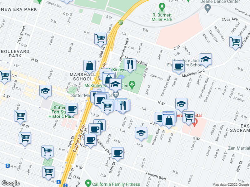 map of restaurants, bars, coffee shops, grocery stores, and more near 3232 H St in Sacramento