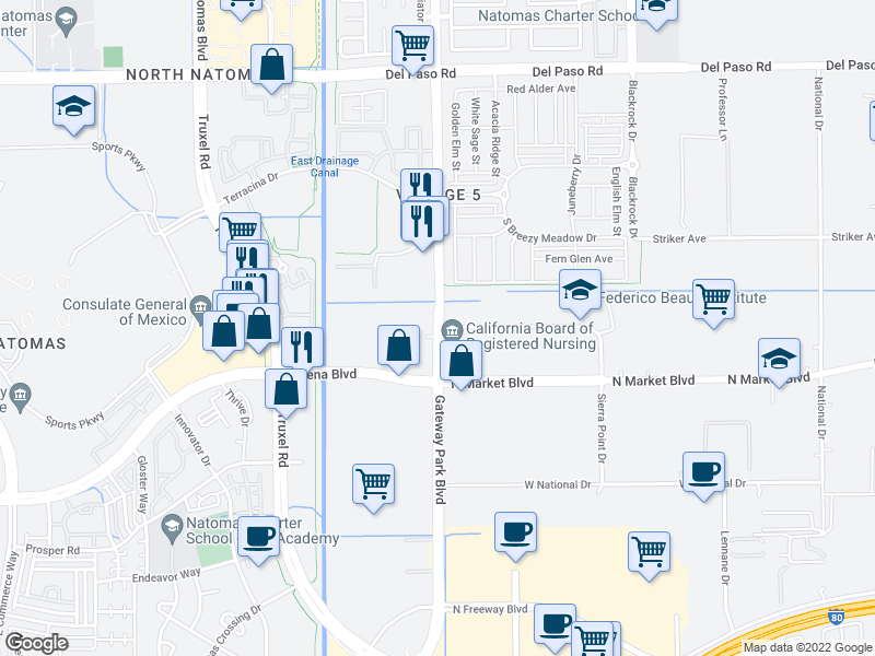 map of restaurants, bars, coffee shops, grocery stores, and more near 4251 Gateway Park Blvd in Sacramento