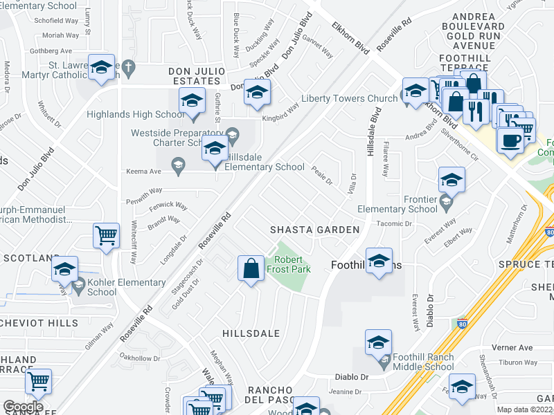 map of nearby restaurants, bars, coffee shops, grocery stores, and more