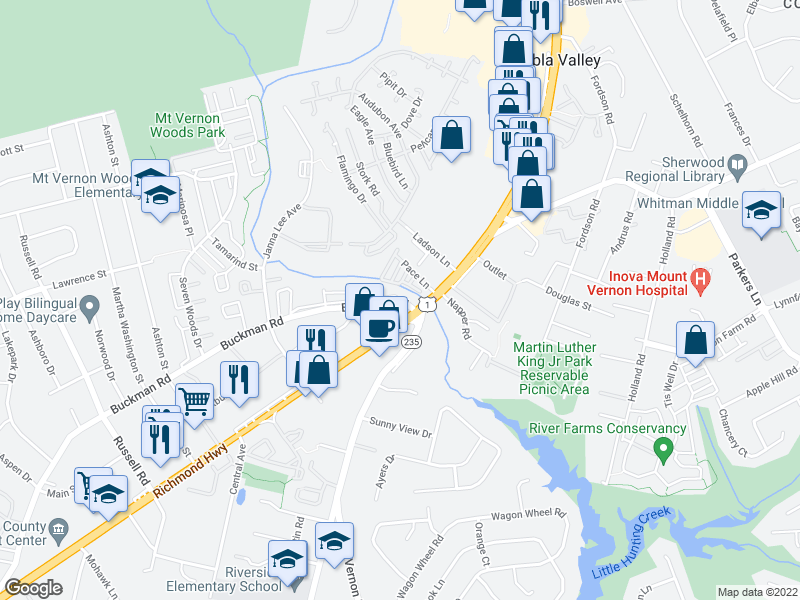 map of restaurants, bars, coffee shops, grocery stores, and more near 8100-8102 Richmond Hwy in Alexandria