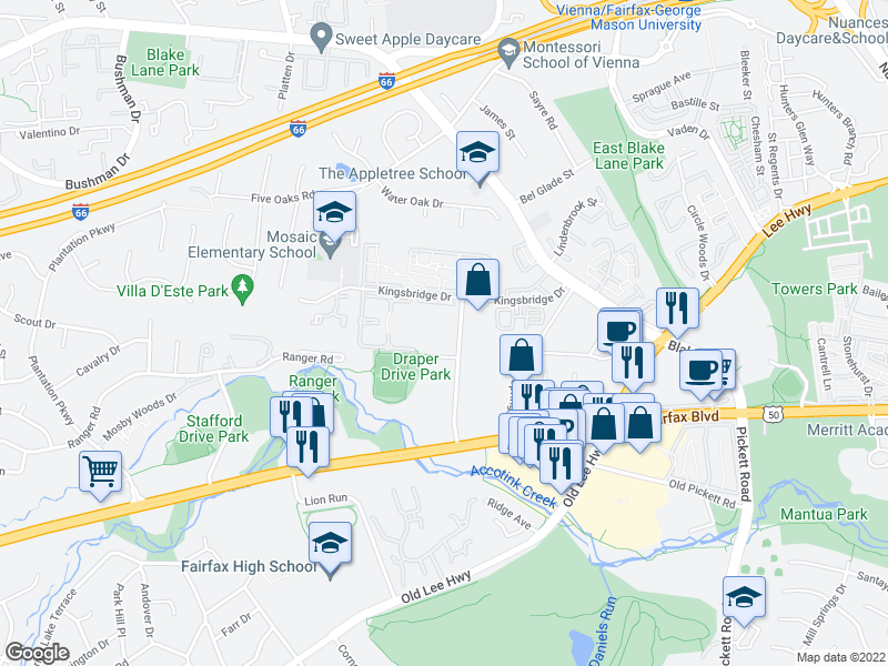 map of restaurants, bars, coffee shops, grocery stores, and more near Alwaes Drive in Fairfax