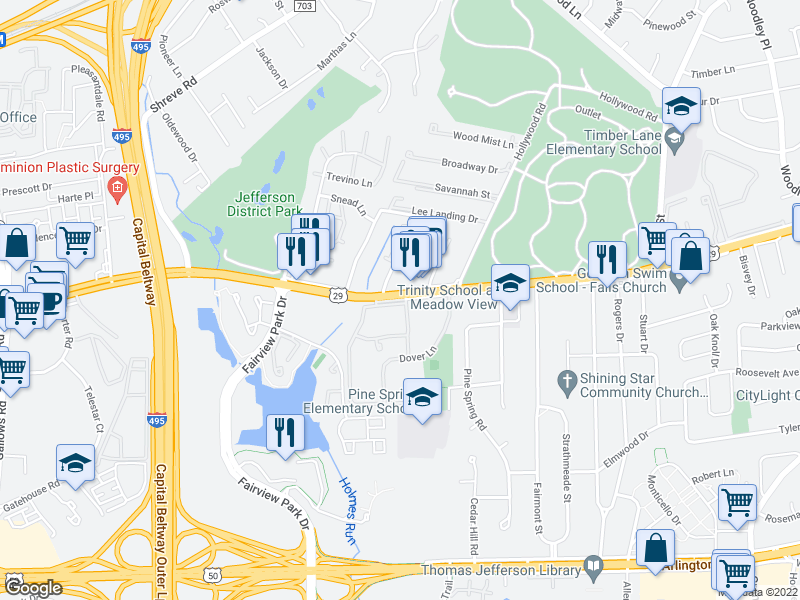 map of restaurants, bars, coffee shops, grocery stores, and more near 106 Church Place in Falls Church