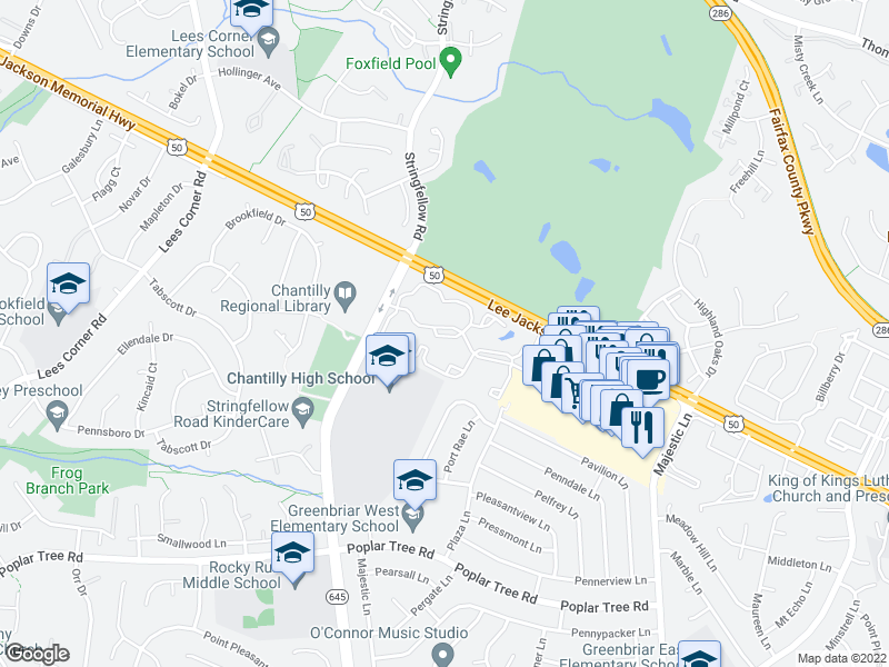 map of restaurants, bars, coffee shops, grocery stores, and more near 13296 Leafcrest Lane in Fairfax