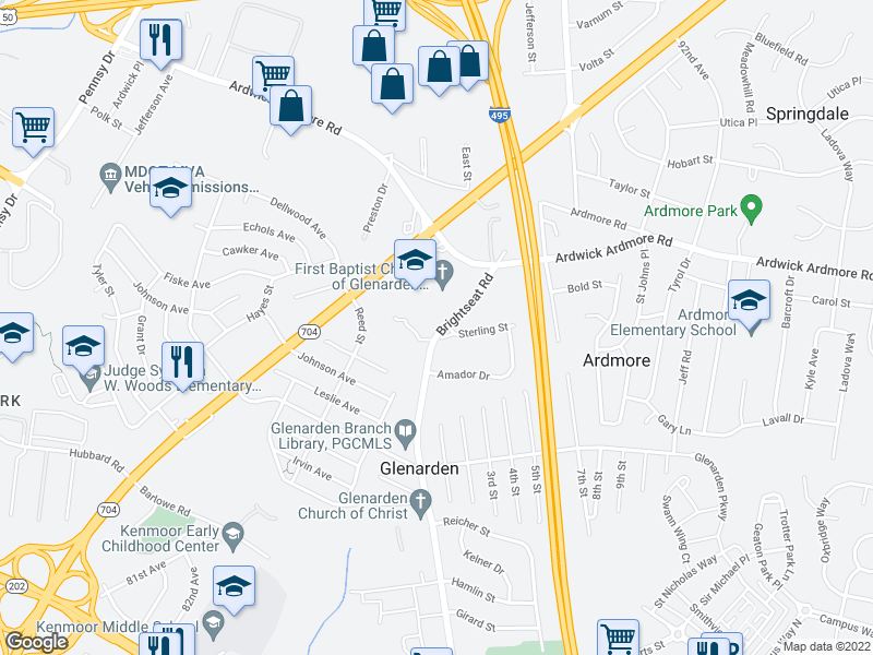 map of restaurants, bars, coffee shops, grocery stores, and more near 8803 Sterling St in Hyattsville
