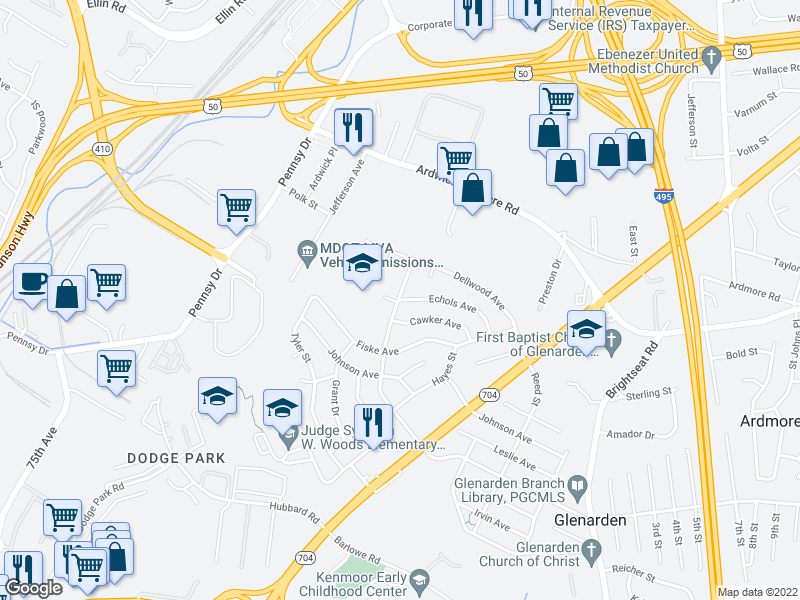 map of restaurants, bars, coffee shops, grocery stores, and more near 7904 Cawker Ave in Glenarden