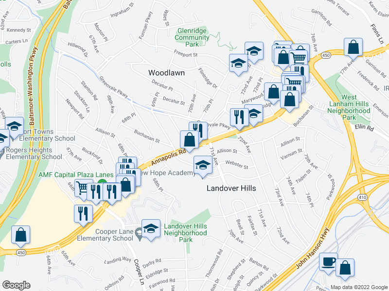 map of restaurants, bars, coffee shops, grocery stores, and more near 4800 Woodlawn Dr in Hyattsville