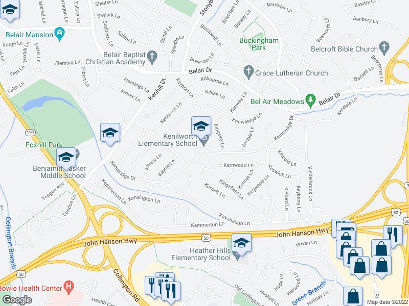 map of restaurants, bars, coffee shops, grocery stores, and more near 12602 Kernwood Ln in Bowie