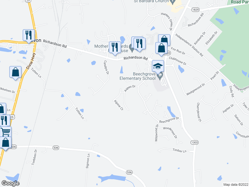 map of restaurants, bars, coffee shops, grocery stores, and more near 4250 Aspen Dr in Independence