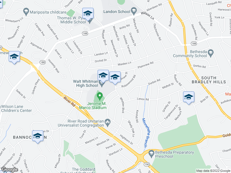 map of restaurants, bars, coffee shops, grocery stores, and more near 7105 Whittier Blvd in Bethesda