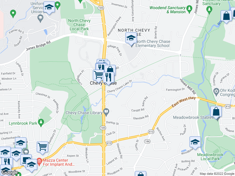map of restaurants, bars, coffee shops, grocery stores, and more near 3536-3786 Chevy Chase Lake Dr in Chevy Chase