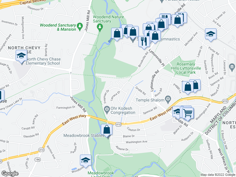 map of restaurants, bars, coffee shops, grocery stores, and more near 2823 Terrace Dr in Chevy Chase