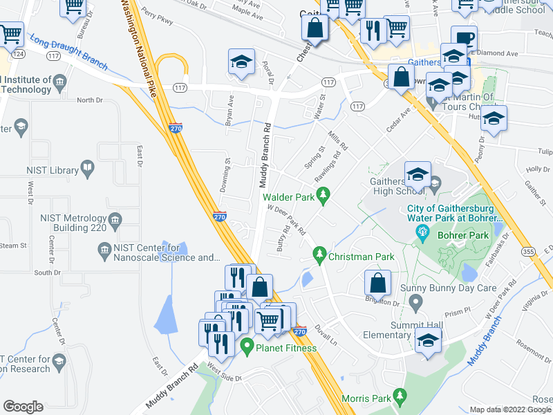 map of restaurants, bars, coffee shops, grocery stores, and more near 217 Water St in Gaithersburg