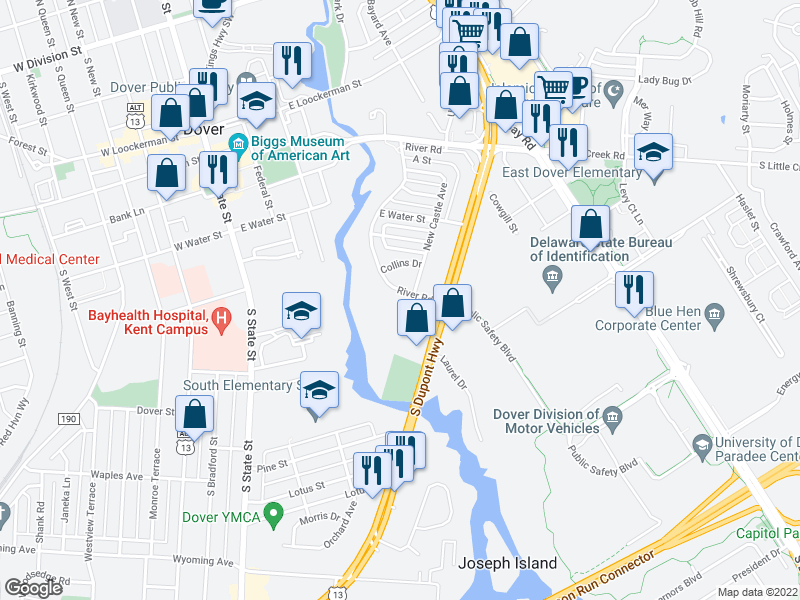 map of restaurants, bars, coffee shops, grocery stores, and more near 721 River Rd in Dover