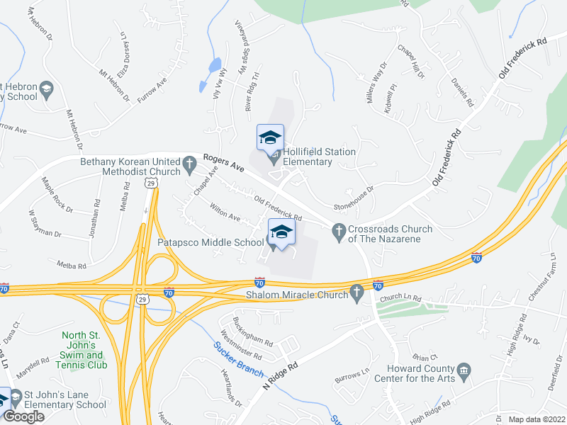 map of restaurants, bars, coffee shops, grocery stores, and more near 8817-8887 Old Frederick Rd in Ellicott City