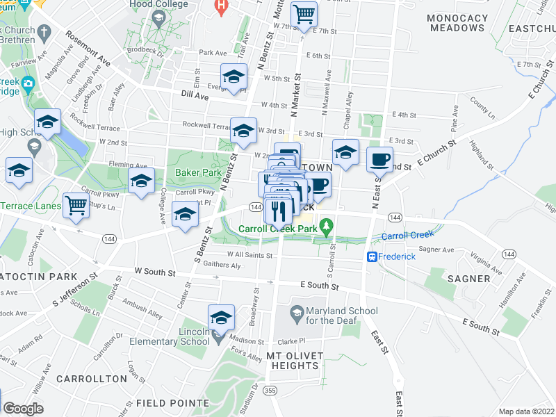 map of restaurants, bars, coffee shops, grocery stores, and more near 2 S Court St in Frederick