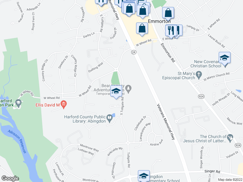 map of restaurants, bars, coffee shops, grocery stores, and more near 2502 S Tollgate Rd in Bel Air