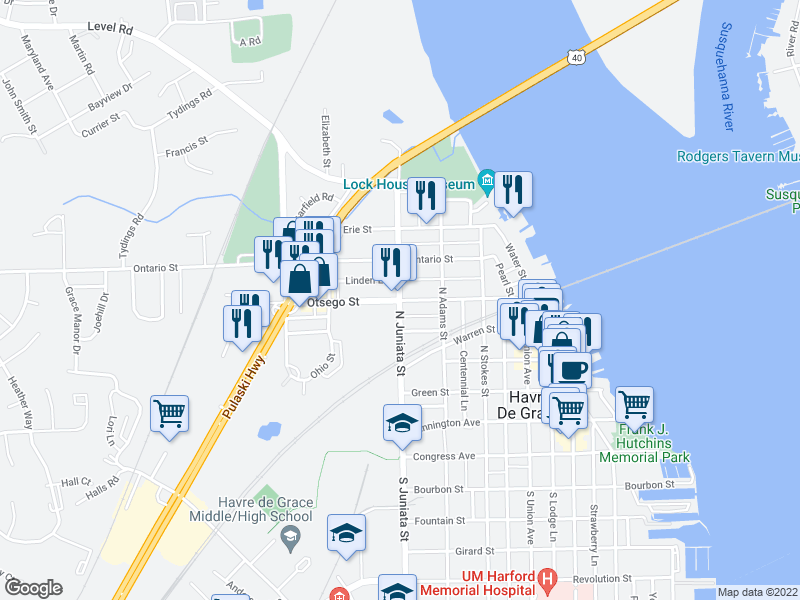 map of restaurants, bars, coffee shops, grocery stores, and more near 701-799 Linden Ln in Havre de Grace