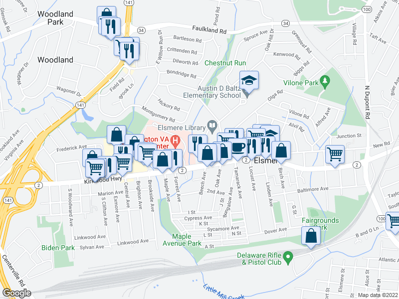 map of restaurants, bars, coffee shops, grocery stores, and more near 3 Walnut Ave in Elsmere