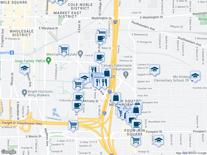 map of restaurants, bars, coffee shops, grocery stores, and more near 525 S Pine St in Indianapolis