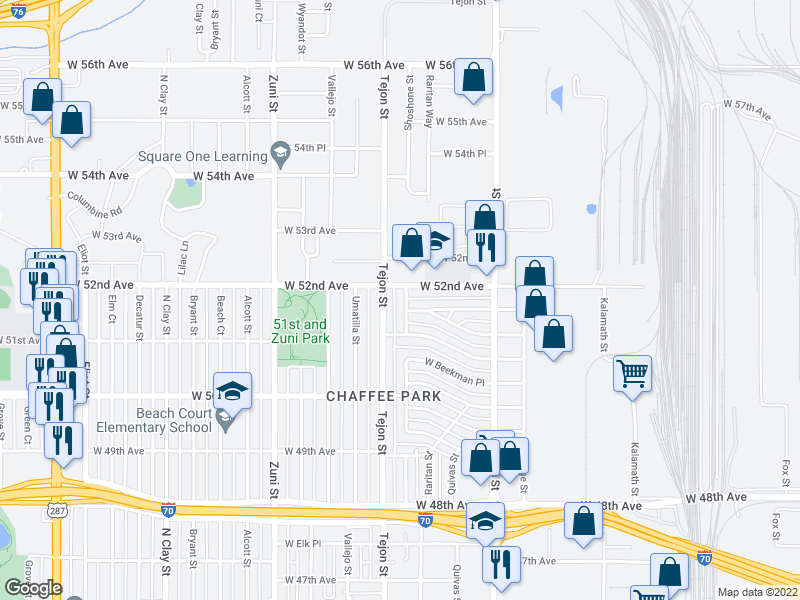 map of restaurants, bars, coffee shops, grocery stores, and more near 5165 Shoshone St in Denver