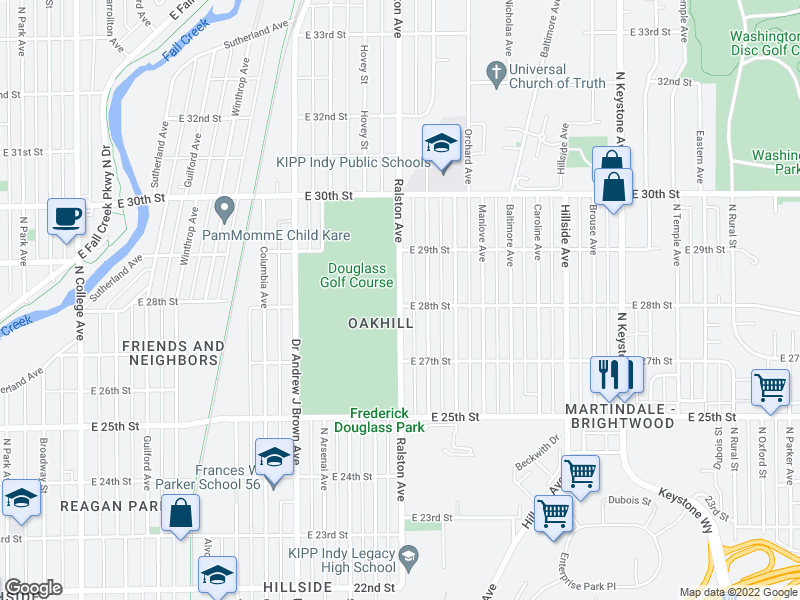 map of restaurants, bars, coffee shops, grocery stores, and more near 2700-2798 Ralston Ave in Indianapolis