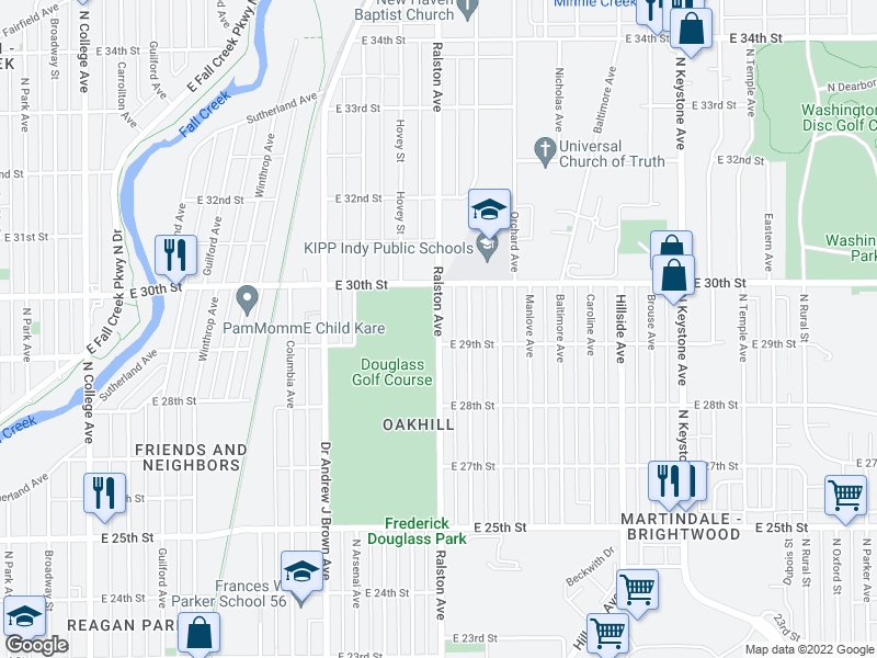 map of restaurants, bars, coffee shops, grocery stores, and more near 2900-2998 Ralston Ave in Indianapolis