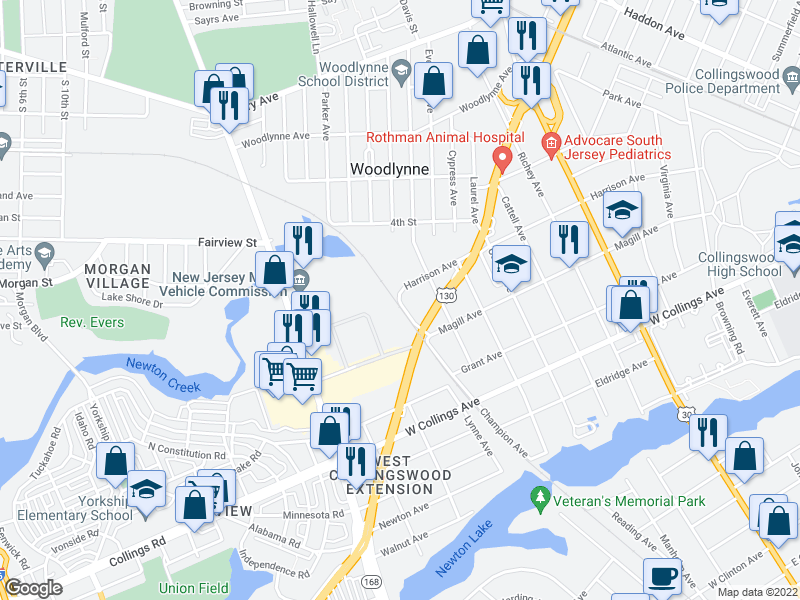 map of restaurants, bars, coffee shops, grocery stores, and more near 1035 Harrison Ave in Oaklyn