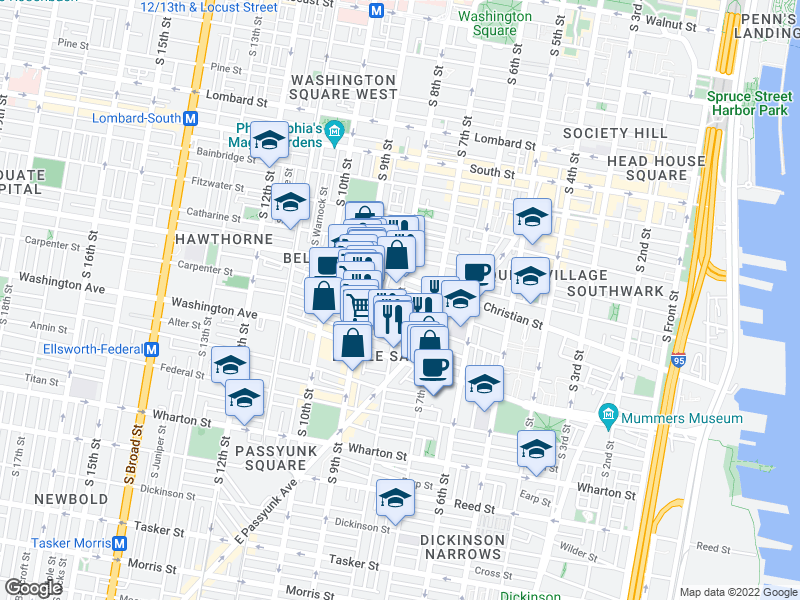 map of restaurants, bars, coffee shops, grocery stores, and more near South 8th Street & Montrose Street in Philadelphia