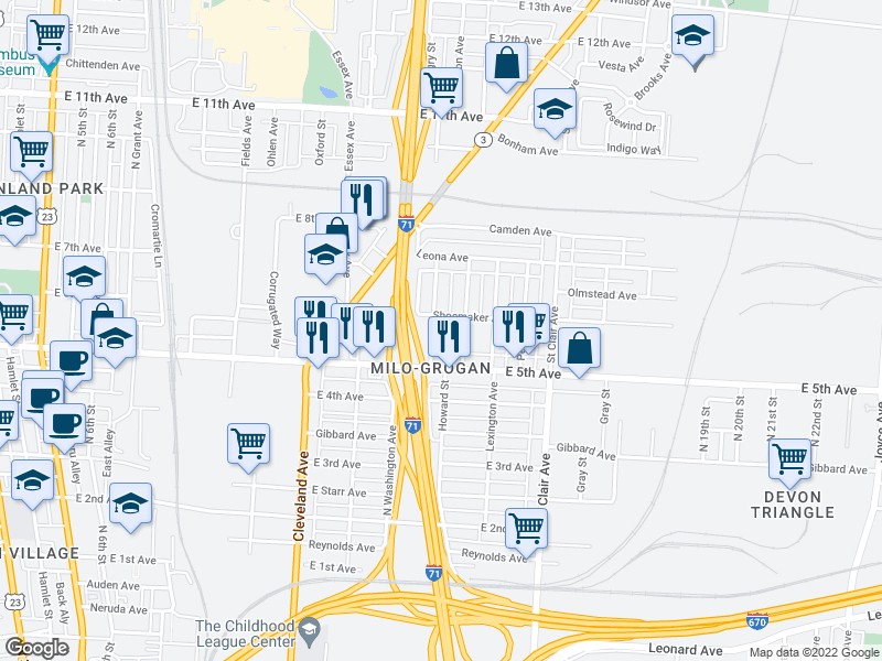 map of restaurants, bars, coffee shops, grocery stores, and more near 1112 Sidney Street in Columbus