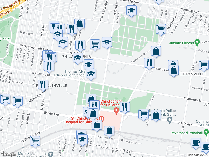 map of restaurants, bars, coffee shops, grocery stores, and more near 101 E Luzerne St in Philadelphia