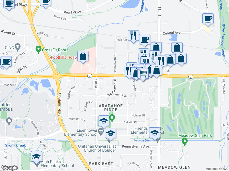 map of restaurants, bars, coffee shops, grocery stores, and more near 4920 Meredith Way in Boulder
