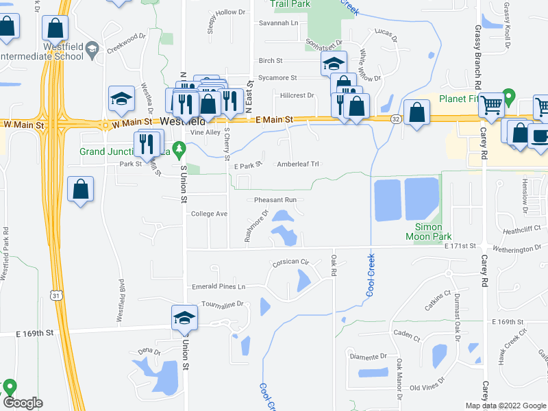 map of restaurants, bars, coffee shops, grocery stores, and more near 17209 Rushmore Drive in Westfield