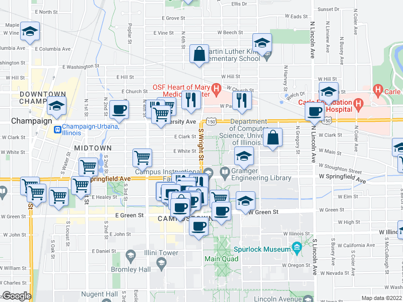 map of restaurants, bars, coffee shops, grocery stores, and more near S Wright St & E White St in Champaign