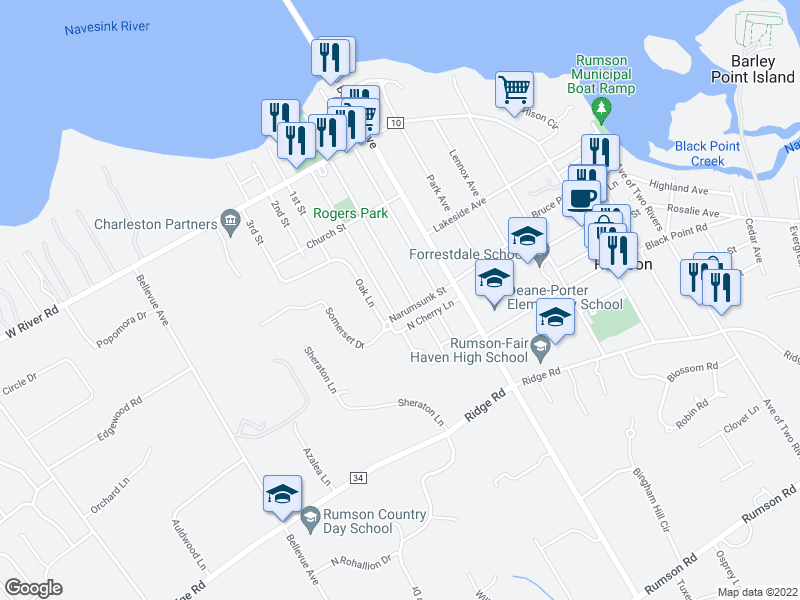 map of restaurants, bars, coffee shops, grocery stores, and more near 88 Lafayette St in Rumson