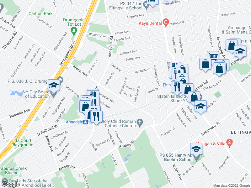 map of restaurants, bars, coffee shops, grocery stores, and more near Ray St in Staten Island