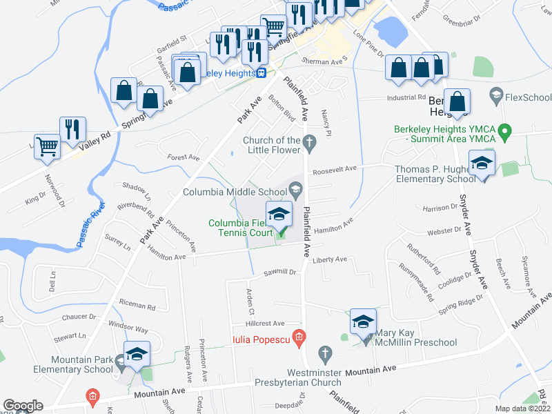 map of restaurants, bars, coffee shops, grocery stores, and more near 345 Plainfield Ave in Berkeley Heights