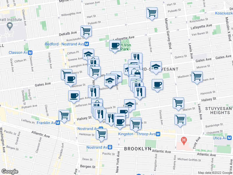 map of restaurants, bars, coffee shops, grocery stores, and more near 361 Putnam Avenue in Brooklyn