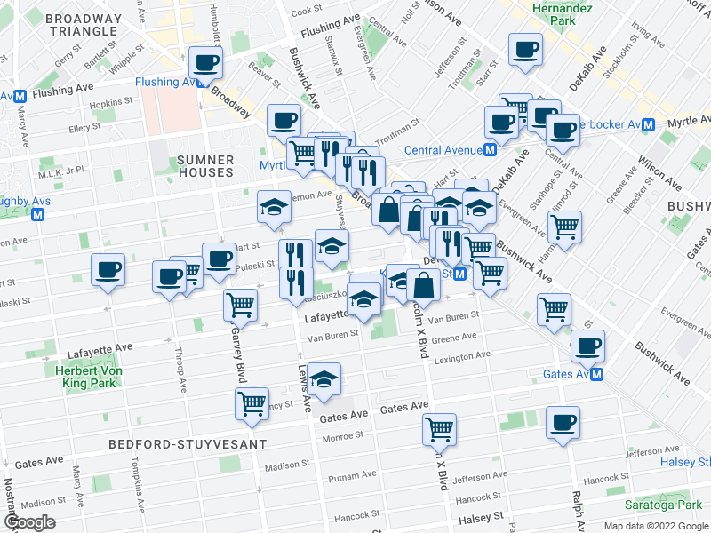 map of restaurants, bars, coffee shops, grocery stores, and more near 1047-1055 Dekalb Ave in Brooklyn