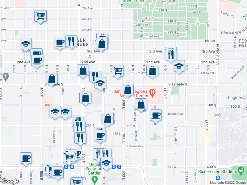 map of restaurants, bars, coffee shops, grocery stores, and more near  in Salt Lake City