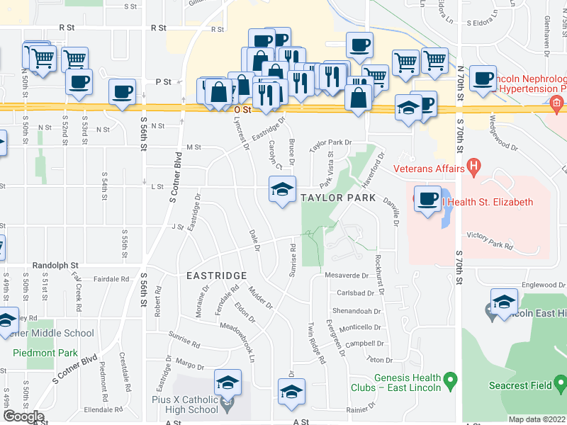 map of restaurants, bars, coffee shops, grocery stores, and more near 6245 L St in Lincoln