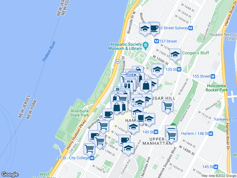 map of restaurants, bars, coffee shops, grocery stores, and more near 710 Riverside Drive in New York